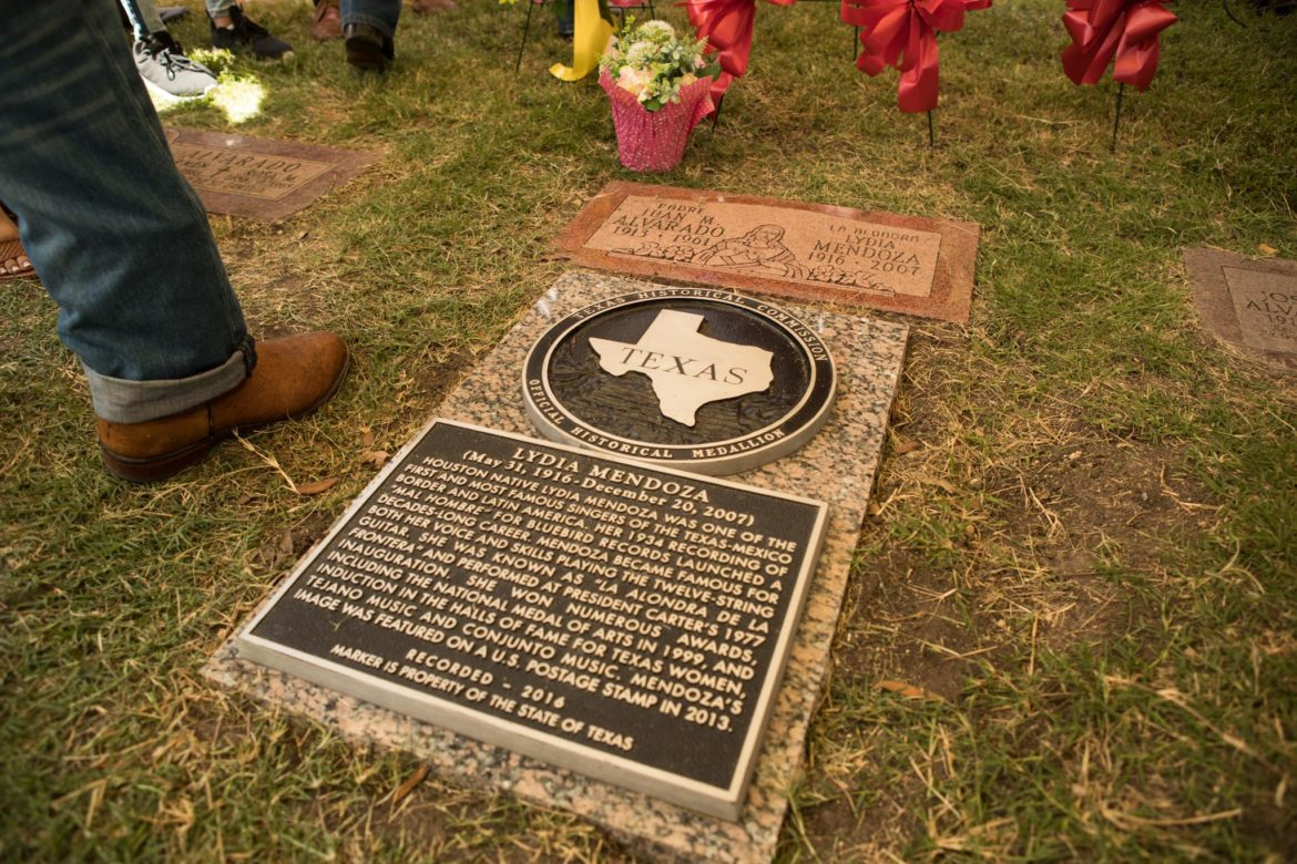 The official Texas Historical Marker placed next to Lydia Mendoza's gravesite.
