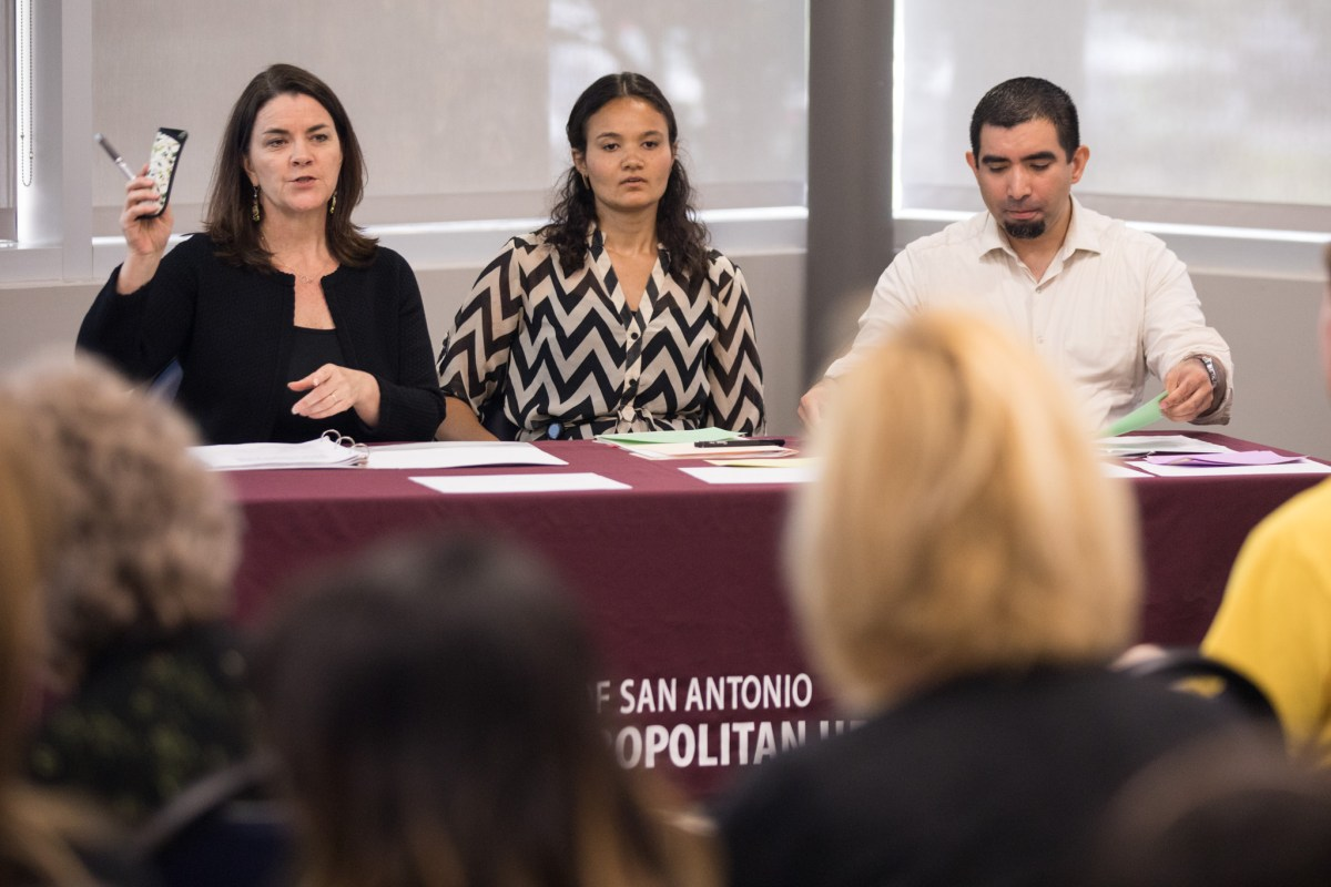 (From left) Metropolitan Health District Interim Health Director Jennifer Herriott, Senior Management Analyst Annika Jones, and Health Program Manager Francisco Campos answer questions from the audience.