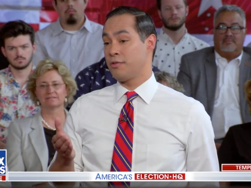 Presidential Candidate Julián Castro responds to questions during a Fox News Town Hall event in Tempe, Arizona.