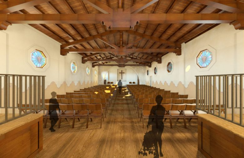 This rendering shows the interior of the chapel at HNS.