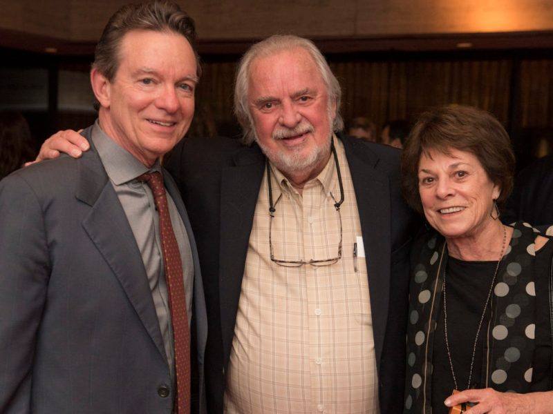 (from left) Lawrence Wright with the late Bill Wittliff and his wife Sally Wittliff in February 2018.