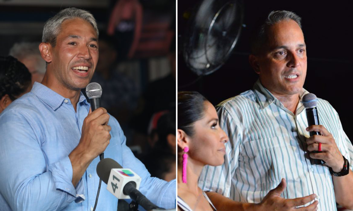 Mayor Ron Nirenberg and Councilman Greg Brockhouse address their supporters on Election Day.
