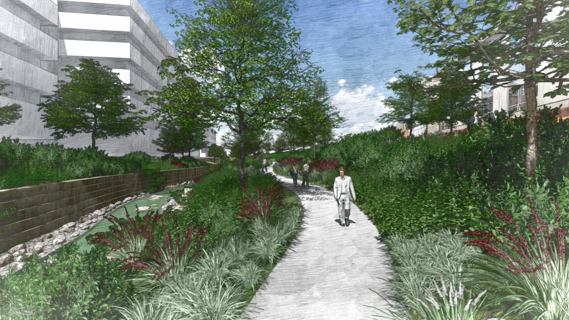 A preliminary rendering of Phase 1.3 at San Pedro Creek Culture Park.
