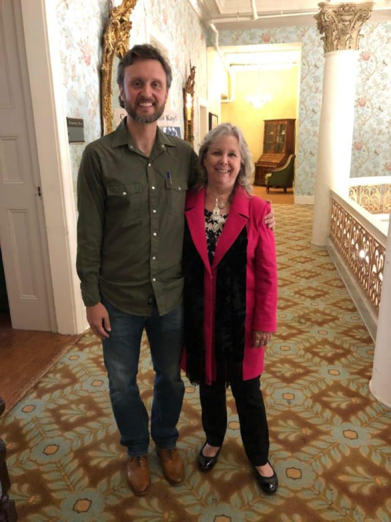 Brandon Seale and Kay Hindes at Hindes's Retirement Party at the Menger Hotel.