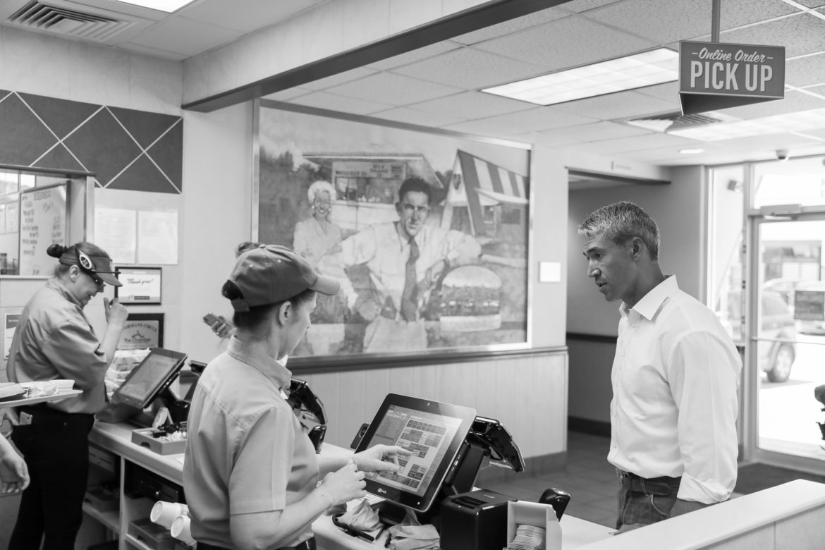 Mayor Ron Nirenberg places his order at Whataburger during lunch.