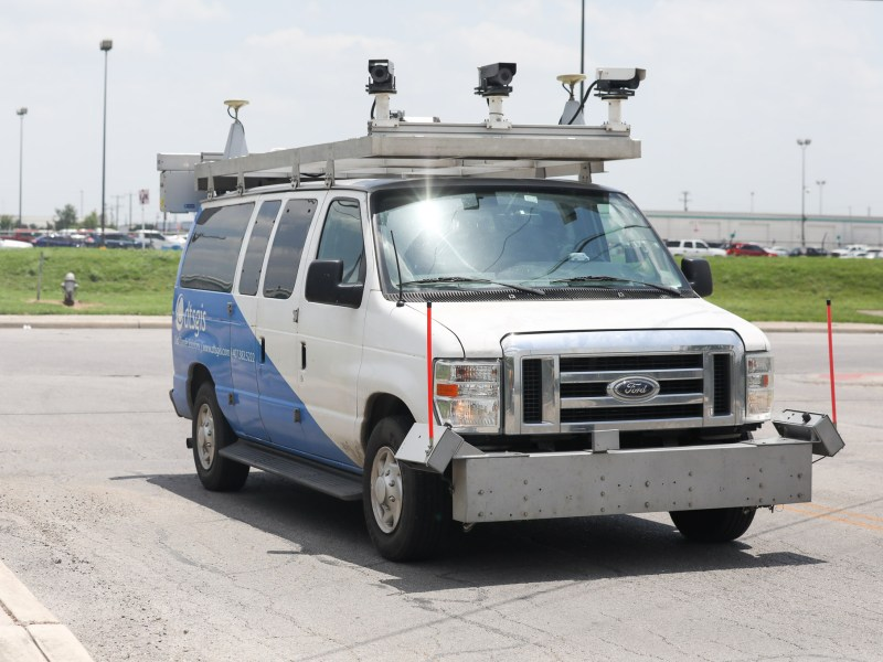 A DTSGIS van just finished surveying roads in San Antonio where raw data grading the streets is sent to Transportation and Capital Improvements.