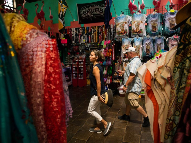 Guests walk through the historic Market Square building.