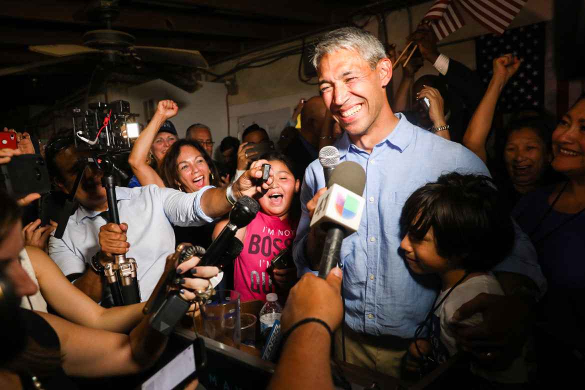 Mayor Ron Nirenberg celebrates with supporters as he declares victory over challenger Greg Brockhouse.