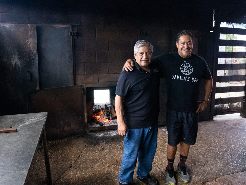 (left) Edward Davila and his son Adrian own and operate Davila's BBQ in Seguin, TX.