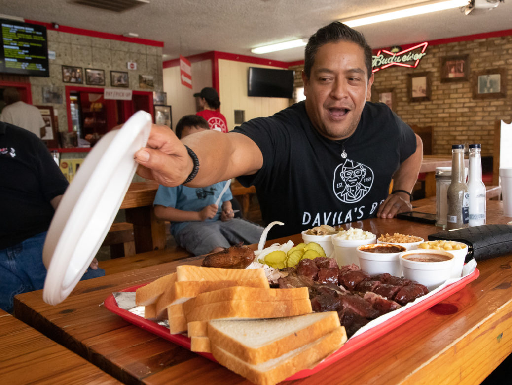 A platter barbecue from Davila's BBQ restaurant located in Seguin, TX on June 05, 2019.
