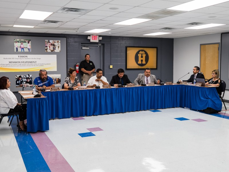 HISD board members before leaving for closed session on June 13, 2019.