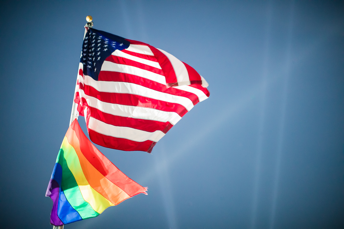 Flags fly high over the Pride Bigger Than Texas Festival and Parade on June 29, 2019.