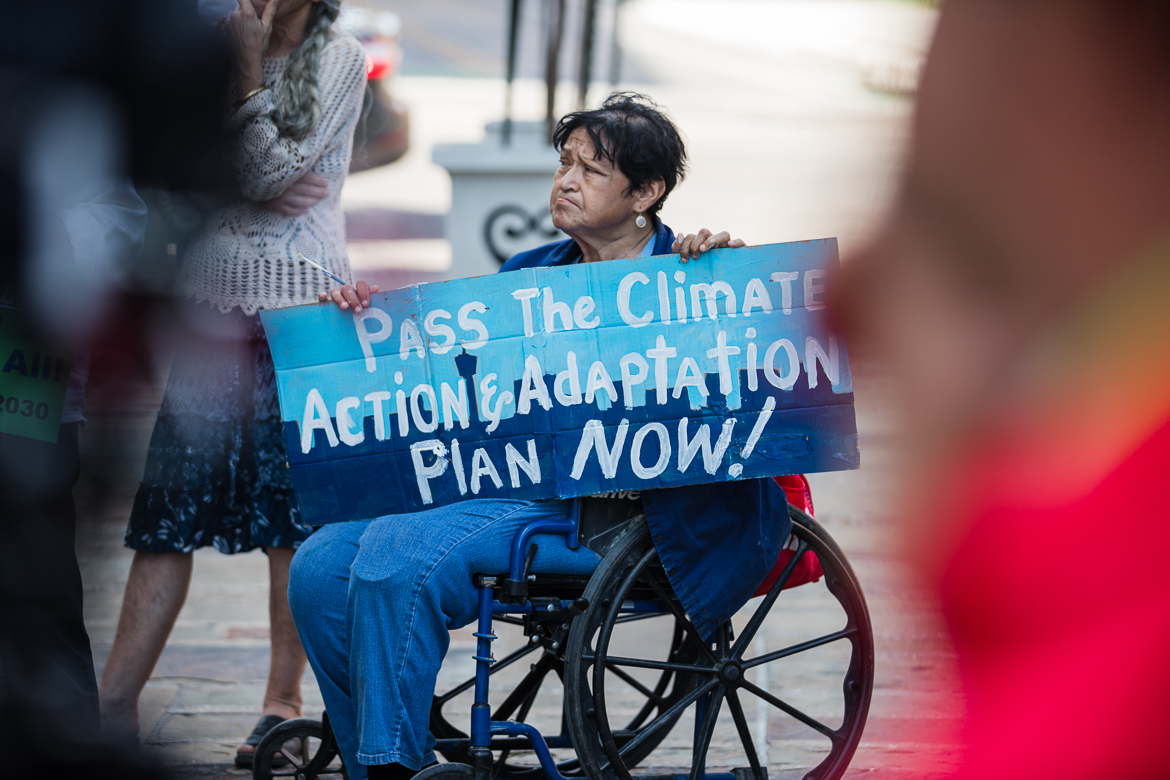 Mary Agnes Rodriguez attends the Climate Action Rally at Municipal Plaza on June 12, 2019.