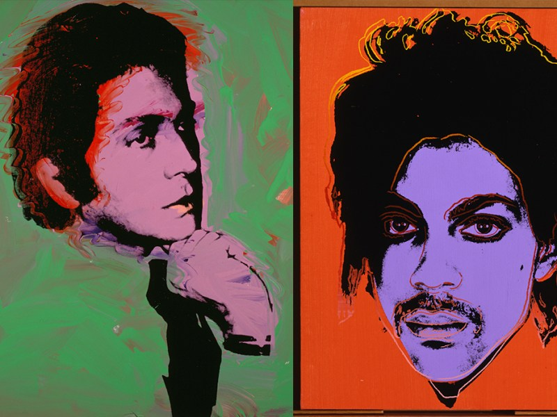 (left) Andy Warhol, Valentino, 1974 and Andy Warhol, Prince, ca 1984 are both on view at the McNay for Andy Warhol: Portraits.
