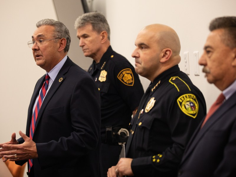 (From left) District Attorney Joe Gonzales, San Antonio Police Chief William McManus, Bexar County Sheriff Javier Salazar, and Bexar County Director of the Office of Criminal Justice Mike Lozito
