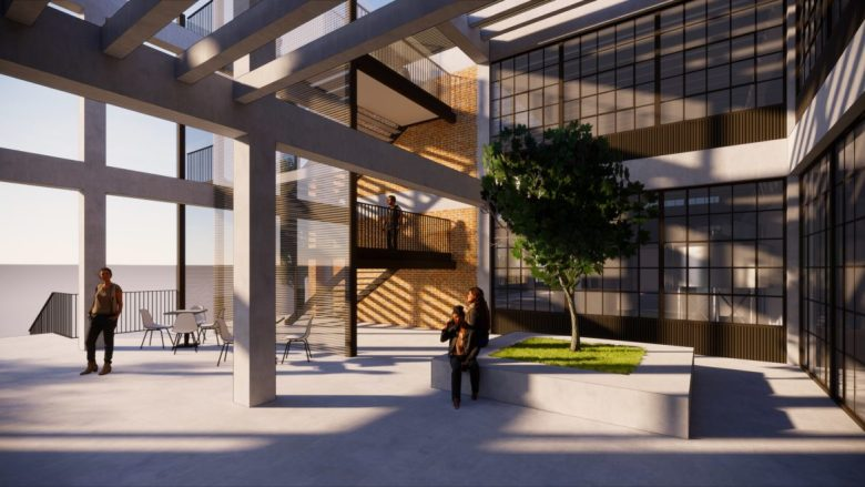 A rendering of the courtyard at 533 Delaware.