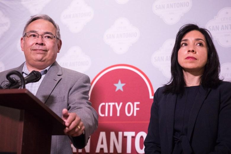 (From left) City Attorney Andy Segovia and Deputy City Manager María Villagómez