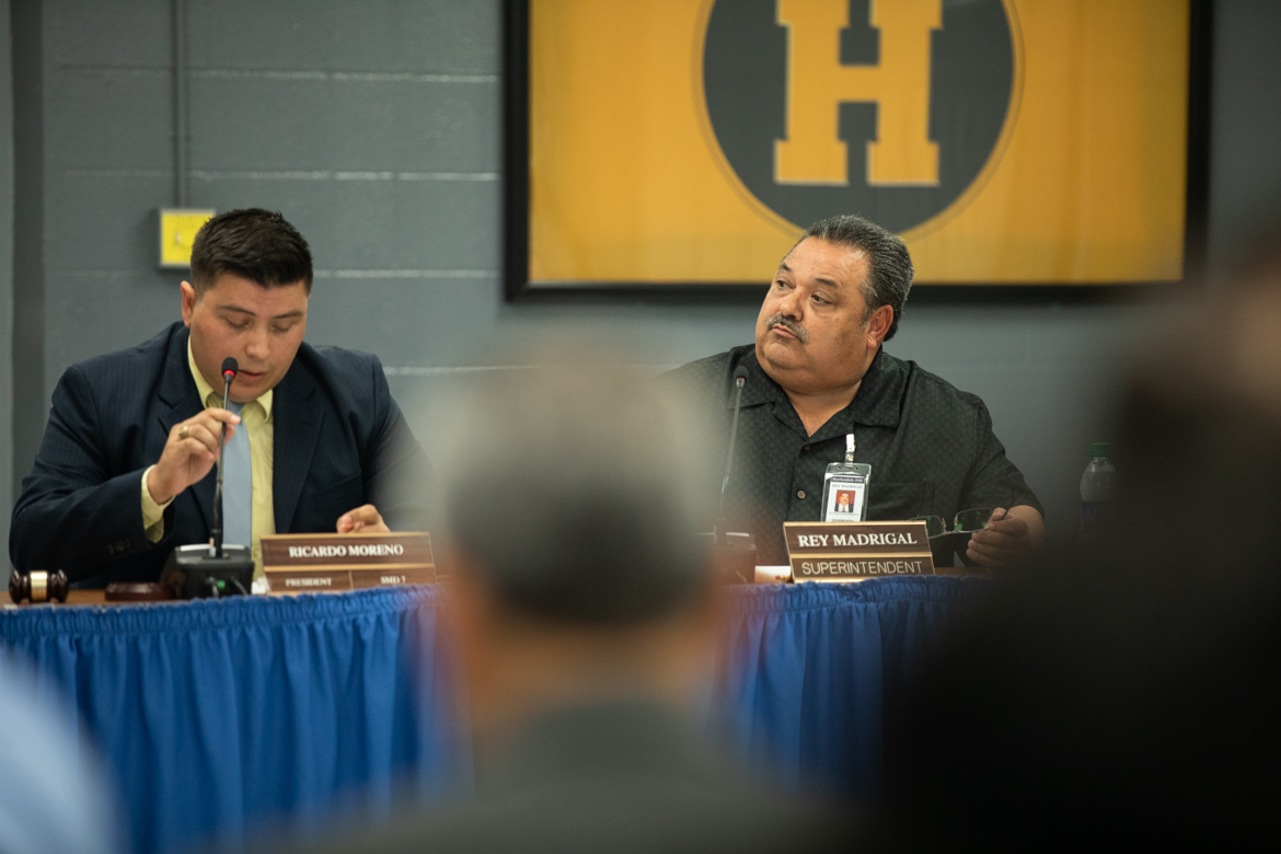 (From left) Harlandale ISD board president Ricardo Moreno and Superintendent Rey Madrigal