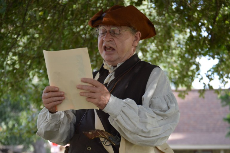 Tom Wetzler reads the Declaration of Independence.