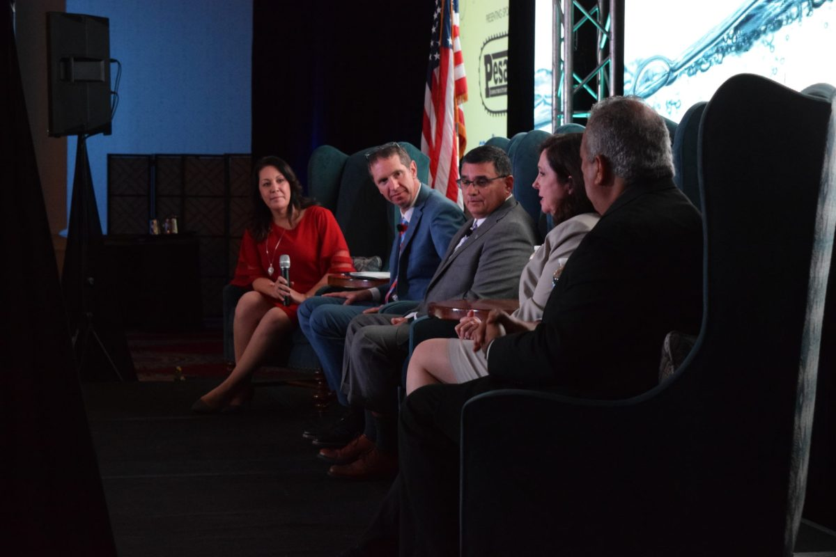 From left, West San Antonio Chamber of Commerce President Kristi Villanueva, Natural Resources Defense Council climate advisor John Bailey, Edwards Aquifer Authority General Manager Roland Ruiz, San Antonio River Authority General Manager Suzanne Scott, and San Antonio Water System President and CEO Robert Puente speak at a chamber panel.