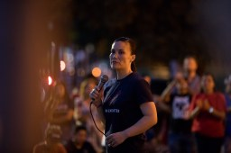 Democratic candidate for U.S. House District 23 Gina Ortiz Jones voiced her support for an assault weapons ban at the vigil.