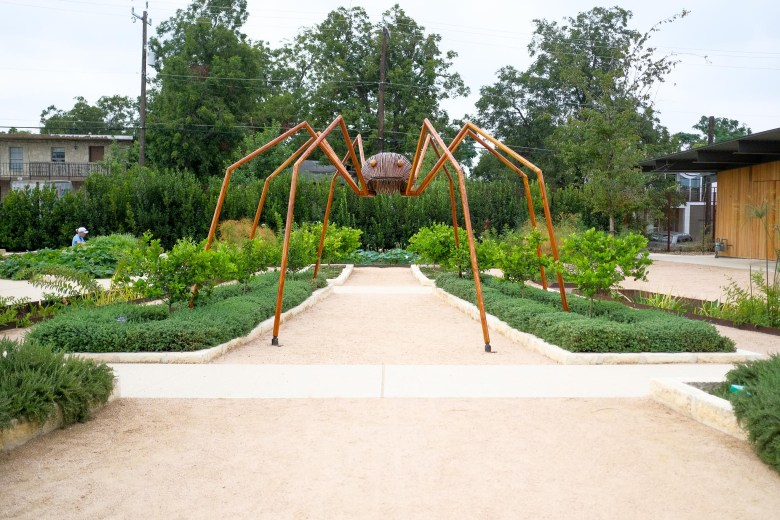A daddy long legs from David Rogers' <I>Big Bugs</I> exhibition at the San Antonio Botanical Garden.