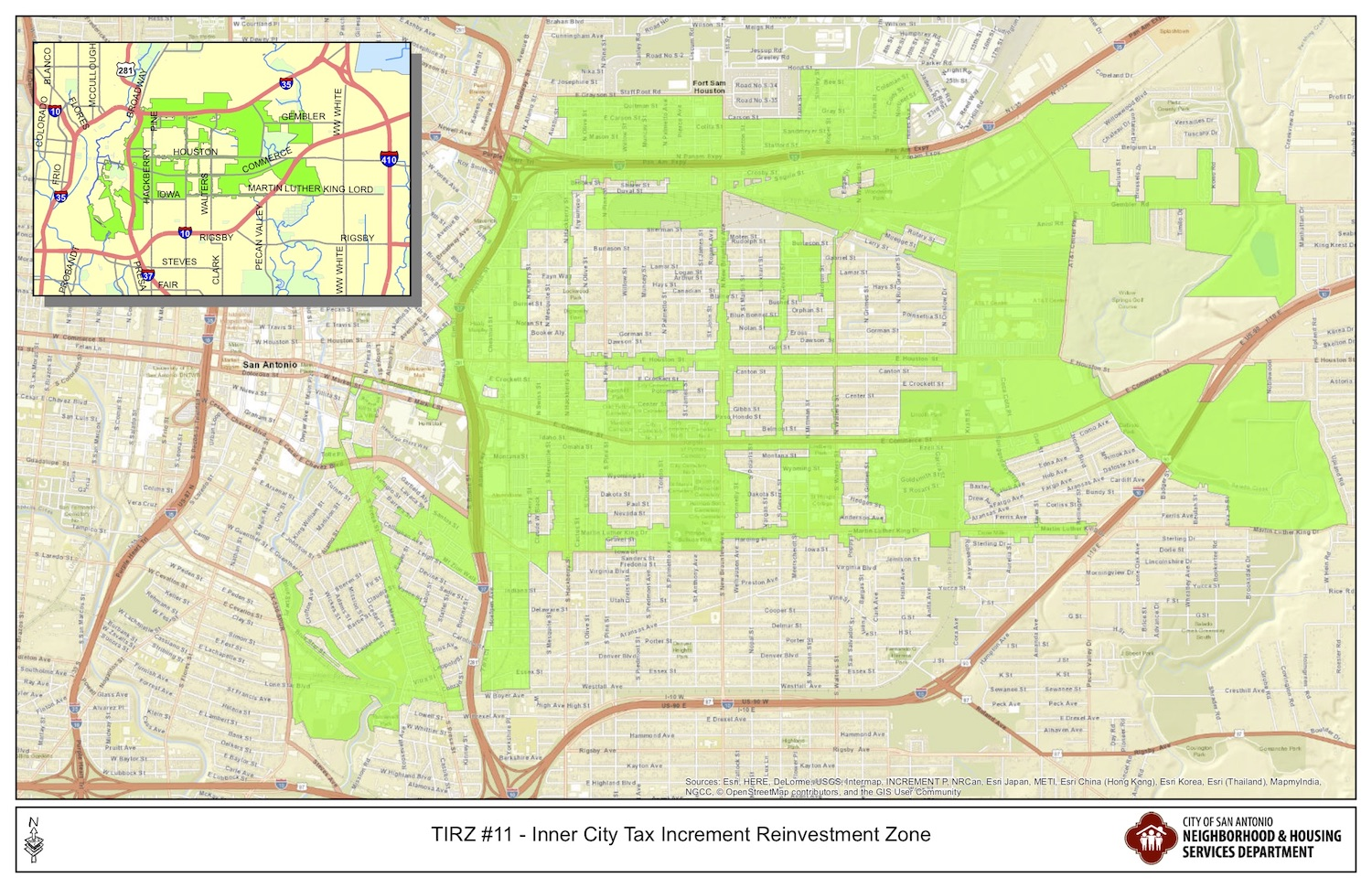 The Inner-City Tax Increment Reinvestment Zone stretches from South of downtown to the East Side, loosely bounded by Fort Sam Houston to the north and Martin Luther King Jr. Drive to the south.