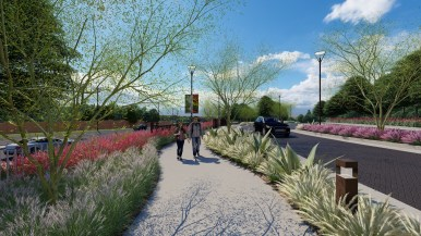 A rendering of a walkway along Austin Highway that is part of the McNay Art Museum's new landscape plan.