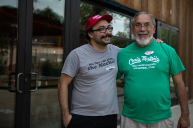Son and father (from left) Jacob and Steve Treviño remained employed by Chris Madrid's during the reconstruction after the fire.