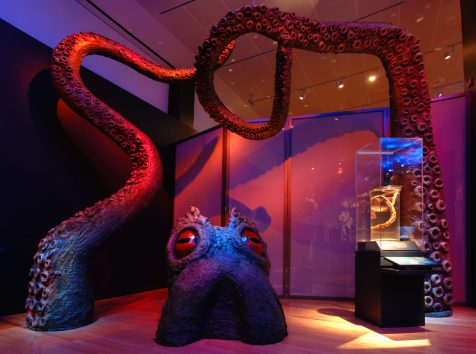 This kraken, a mythical sea monster, has 12-foot-long tentacles that appear to rise out of the floor.