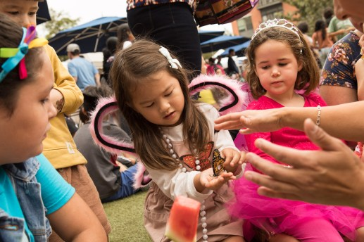 Lila Buchanan prepares to release a monarch butterfly.