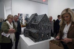 Guests at the Ruby City opening look at Untitled by Kim Jones (1974-2013).