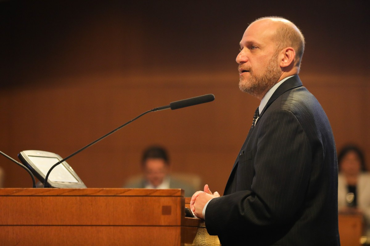 Doug Melnick, chief sustainability officer for the City of San Antonio outlines the Climate Action & Adaptation Plan (CAAP) before City Council in October 2019.