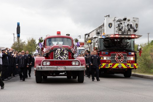 The funeral procession for fallen firefighter Greg Garza at Community Bible Church.