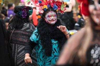 Erika Prosper serves as the Grand Marshal of the Pearl Día de los Muertos procession.