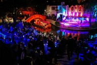Barges arrive to Arneson River Theater during the inaugural Catrinas on the River Parade.