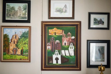 Josephine Mendoza's Mission Espada wall is decorated with her favorite mission.