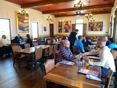 One of several dining rooms at Mi Familia de Mi Tierra featuring contemporary art