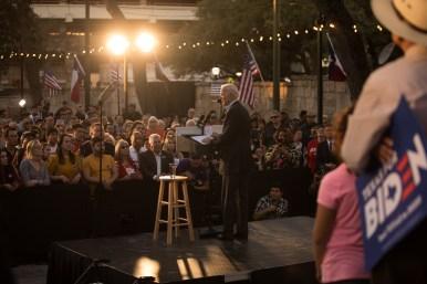 Former Vice President Joe Biden speaks at La Villita's Plaza Juarez for a campaign event.