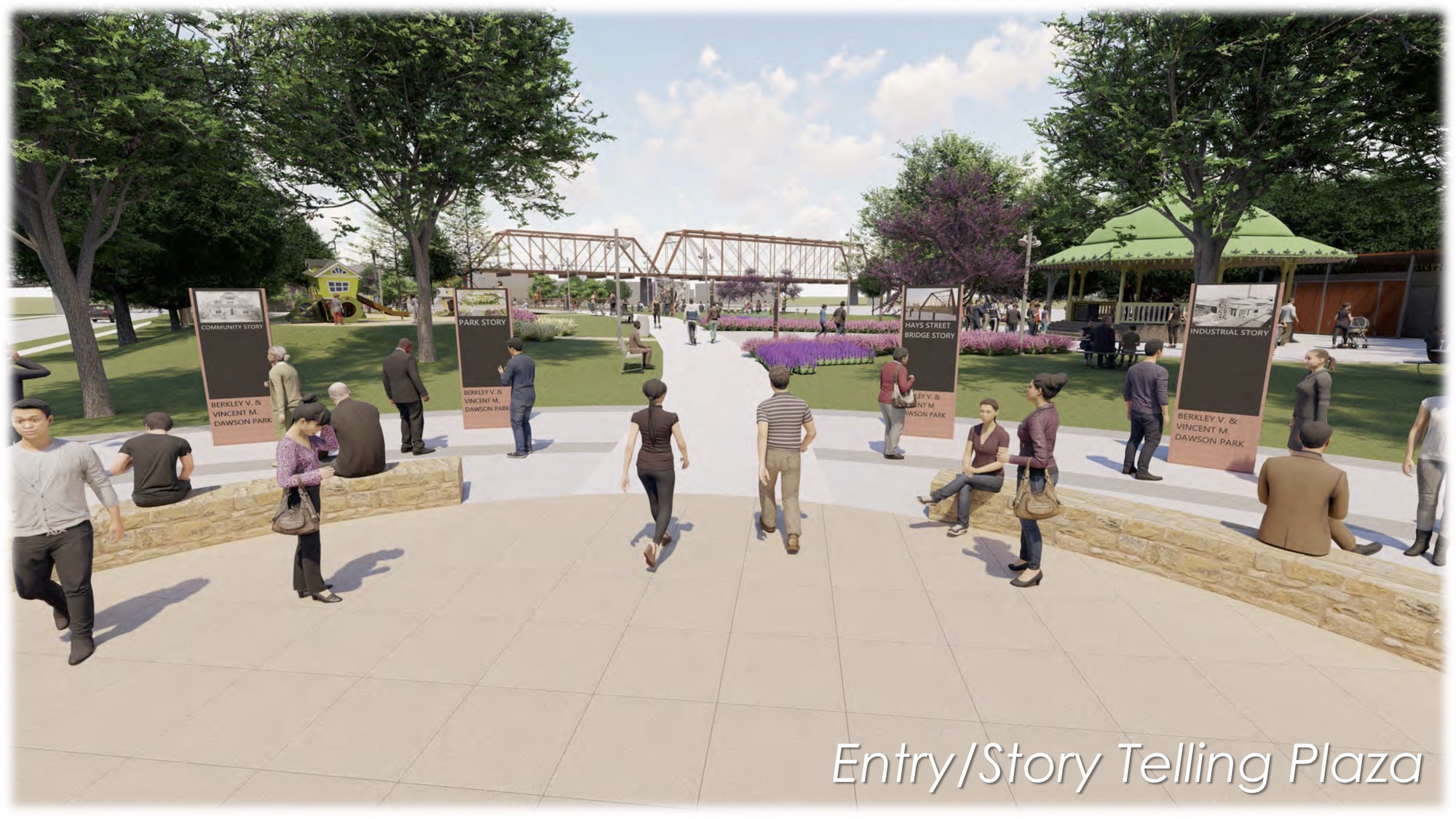This rendering shows the conceptual design of an entry plaza and educational elements in the park planned for the empty lot next to the Hays Street Bridge.