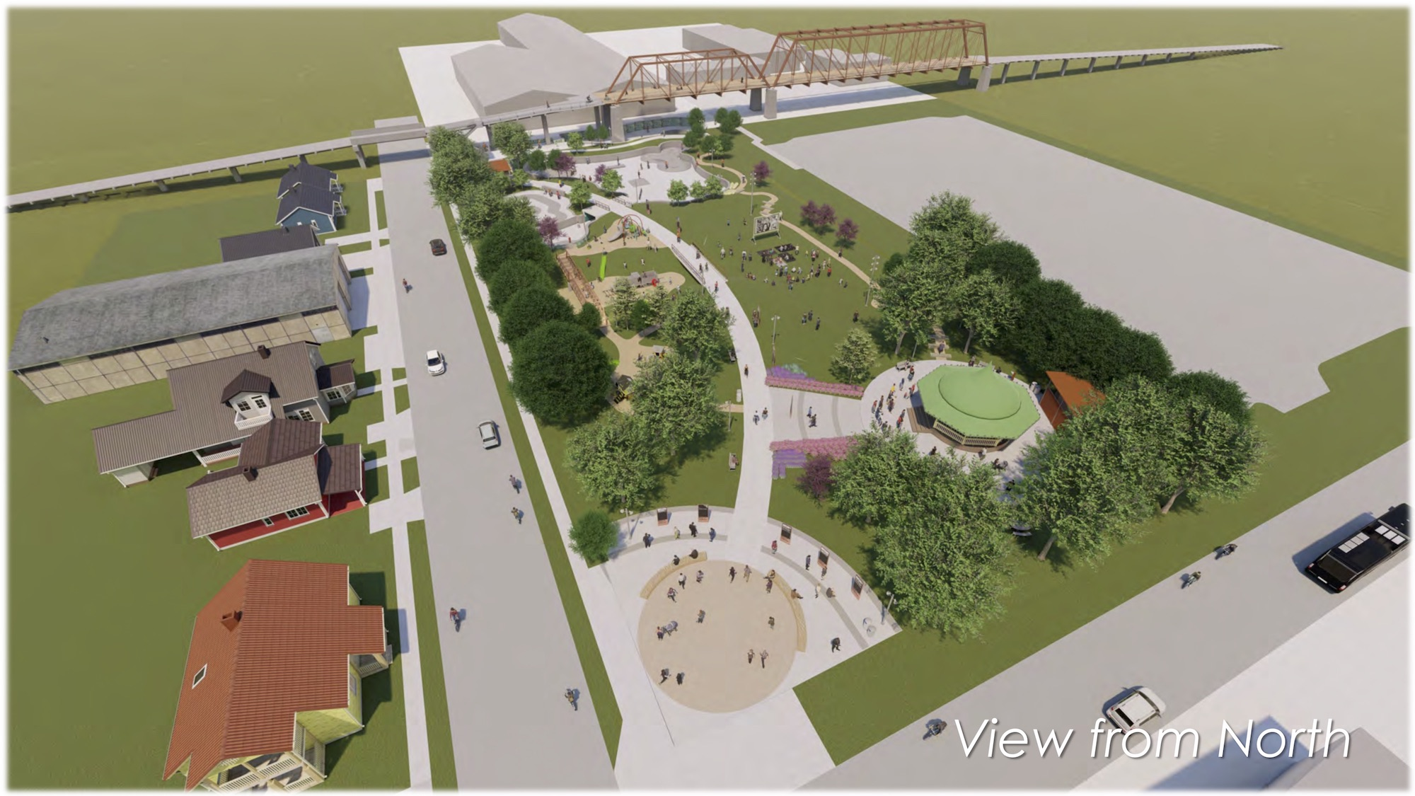 This rendering shows and aerial view of the planned park next to Hays Street Bridge looking South.