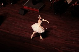 A ballerina dances during the performance..