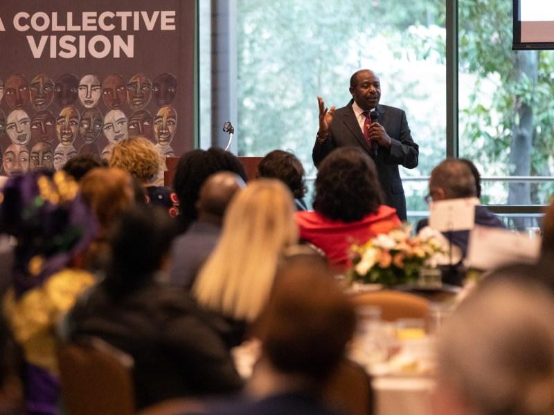 Rwandan humanitarian Paul Rusesabagina gives a keynote address during during Dreamweek San Antonio in January, 2020.