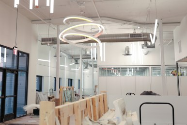 The lobby at VelocityTX will feature open seating, a reception, and mail area.