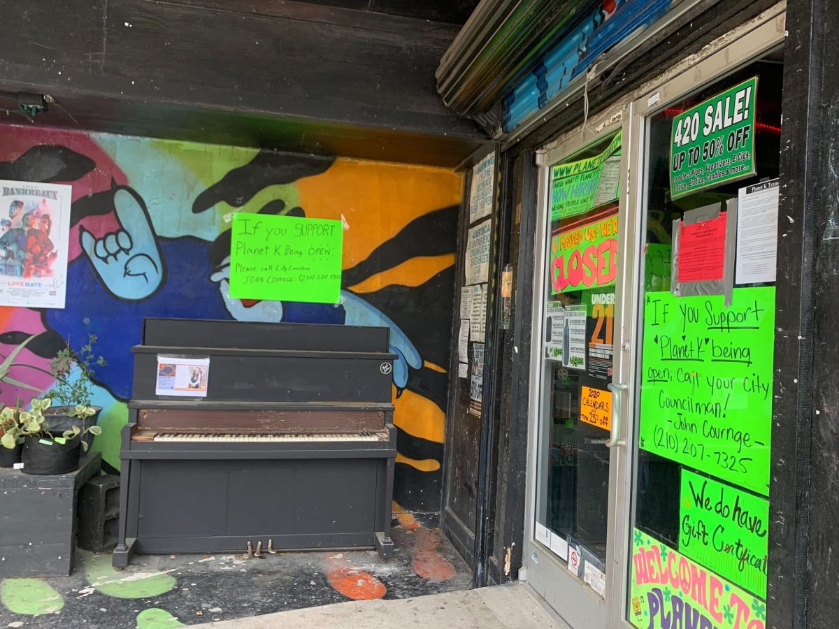 The Planet K at 11202 West Ave. was closed on Monday, April 6, but an employee inside was directing customers to its shop in nearby Universal City.
