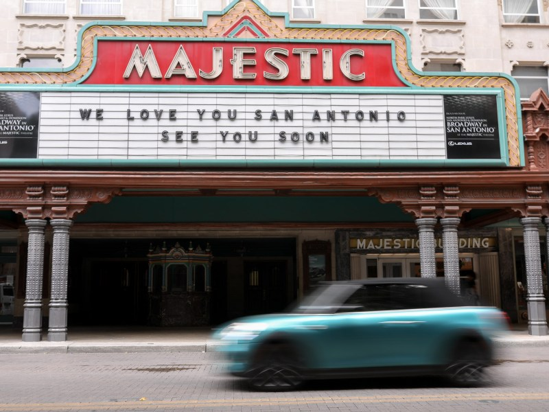 The marquee at the downtown Majestic Theater displays a message for San Antonians as the Texas economy gears up for a reopening of businesses in May.
