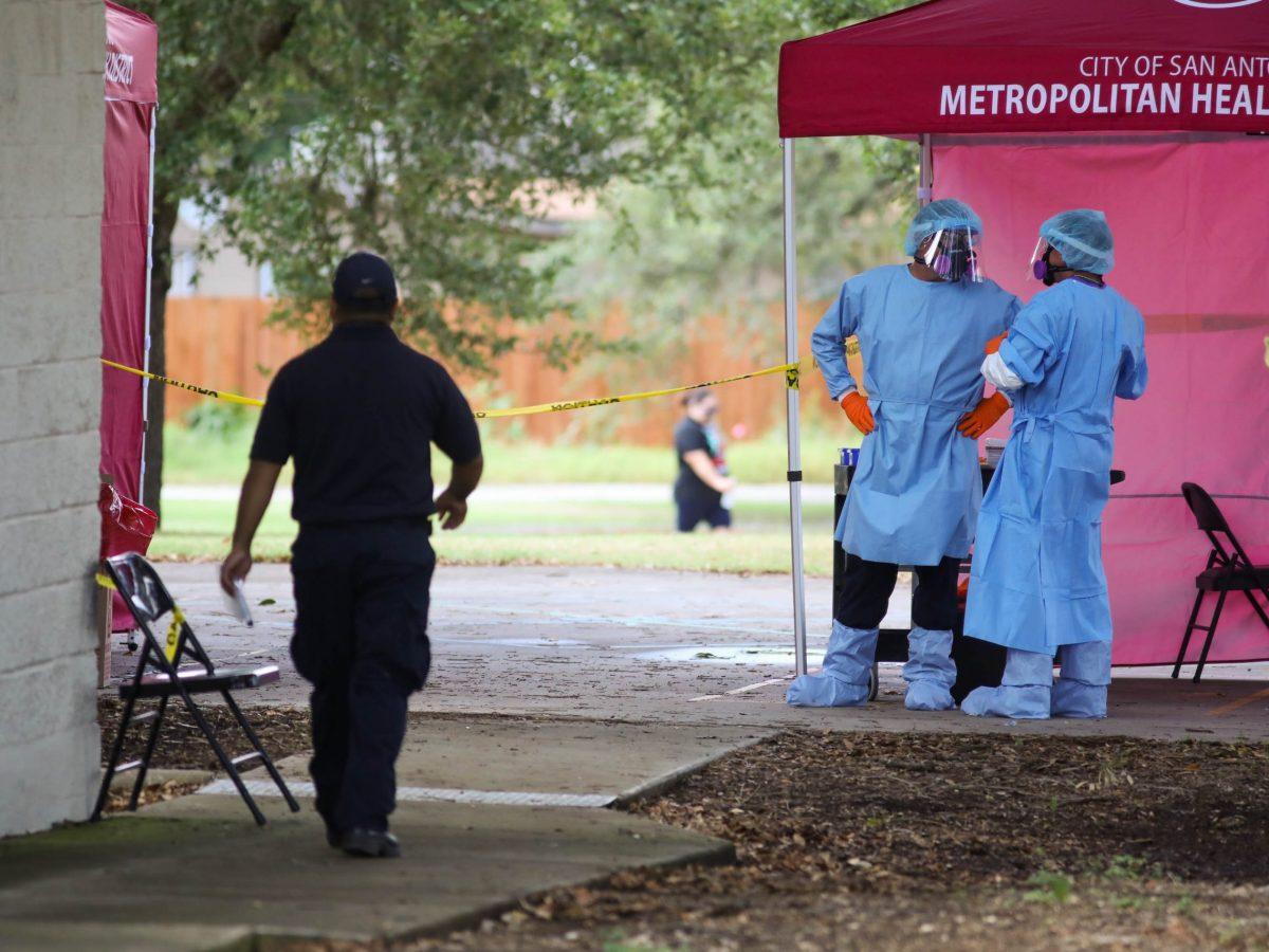 The San Antonio Metropolitan Health District tests community members at Southside Lion's Park.