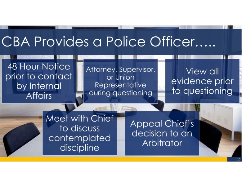 Through state law and the local collective bargaining agreement (CBA), police officers are given several advantages in the disciplinary process.