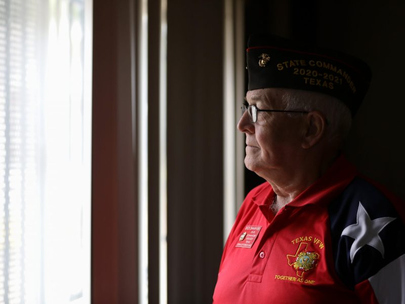 Texas VFW Commander Dick Shaver stands at VFW 8541 which is closed due to Gov. Greg Abbott's orders.