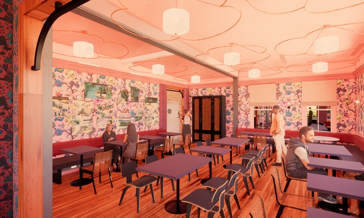 An architectural rendering shows the interior of Best Quality Daughter, set to open in November at 602 Avenue A in the space formerly occupied by barbecue restaurant The Granary.